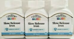 3 PACK 21st Century Slow Release Iron Tablets 60 Count Each Exp 2023
