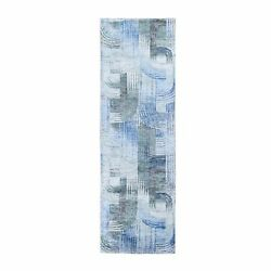 2and0397x10and0394 The Intertwined Passage Silk Text Wool Handmade Runner Rug G59506