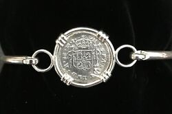 Pirate Coin Treasure Piece Of Eight Authentic Spanish 1/2 Reale Set Ss Bracelet