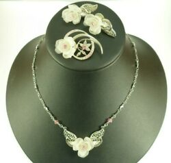 1928 Jewelry Co. Necklace Set Frosted Rose Silver Filigree Pink Crystal Earrings