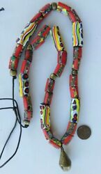 Rare Antique Venetian Millefiori And Red Stripe End Of Day Trade Beads Bronze Bell