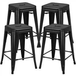 24'' Metal Counter Height Bar Stools Set Of 4 Backless Stackable Stools Black
