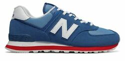 New Balance Men#x27;s 574 Shoes Blue with Red