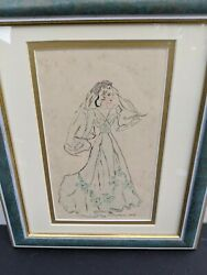 Framed Sketch Of A Woman With A Gown By Peggy O'n Mathewson 1940's