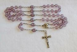French Amethyst Purple Glass Crystal Beads Sterling Silver Rosary Art Nouveau