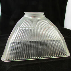 Set 4 Art Deco 11.5 Square Industrial Holophane Glass Light Shades 4 Fitter
