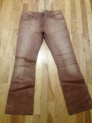 VAUNT ITALLY GENUINE LEATHER WOMEN#x27; PANTS BROWN SIZE 44US 810 $30.00