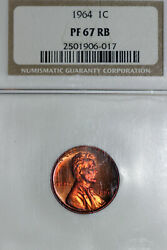 1964 Memorial Reverse Lincoln Small Cent Coin Ngc Gradepf 67 Rb 2501906-017