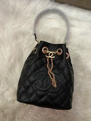 Auth CC VIP Gift Caviar Faux Crossbody and Top Handle Bucket Bag $210.00