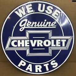 24 We Use Genuine Chevrolet Parts Embossed Metal Sign / Chevy Parts Signs
