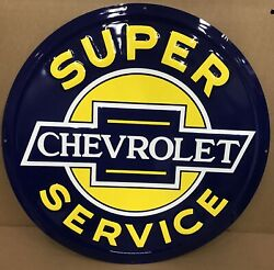 24 Chevrolet Super Service Embossed Metal Sign / Chevy Signs / Chevy Auto Signs