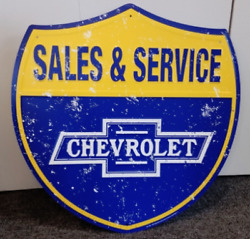 24 Chevrolet Sales And Service Embossed Metal Sign / Chevrolet Signs / Chevy