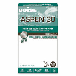 Boise Aspen 30 Recycled Paper 92 Bright 8.5 X 14 500 Sheets/ream 10 Reams/carton