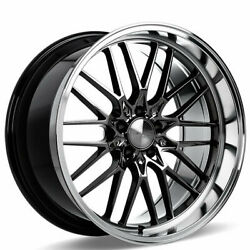 4 19 Staggered Ace Alloy Wheels Aff04 Black Chrome Machined Lip Rimsb45