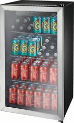 Insignia- 115-can Beverage Cooler - Stainless Steel