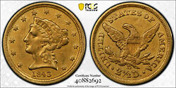 Better Date 1843-d 2.50 Dollar Gold Pcgs Graded Ex-jewelry Vf Details 40882692
