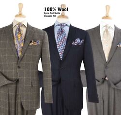 Apollo King Super 150and039s Menand039s 2pc 100 Wool Business Suit Standard Length
