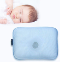 Gio Pillow Infant Newborn Baby Pillow - Prevents Flat Head - Ice Blue