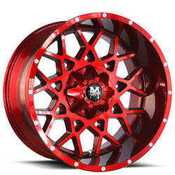 4 22 Off Road Monster Wheels M14 Candy Apple Red Rims B45