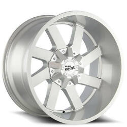 4 22 Off Road Monster Wheels M80 Silver Brushed Face Rims B45