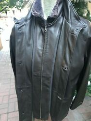 Remy Leather Jacket Black Shearling Double Collar Size 42 Lists 1395