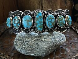 Happy Piasso Kingman Turquoise And Sterling Row Cuff Signed
