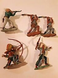 Britains Herold Lot Of 5 Cowboys And Indians Made In England
