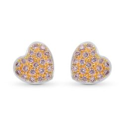 0.14cts Pink Diamond Pave Earrings Set In 18k White Rose Gold