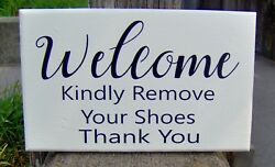 Welcome Kindly Remove Your Shoes Sign Wood Vinyl Front Porch Entry Door Decor
