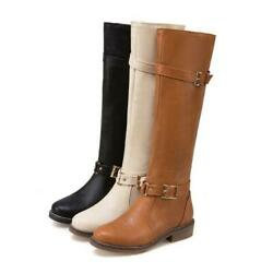 Chic Women Fashion Round Toe Low Heel Buckle Motorcycle Knee High Boots 34/43 D