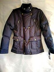 Quilted Blk Down And Feathers Women Jacket Sizes/p Missing Belt Nwt