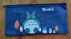 BN Large Totoro Canvas Pencil Case Purse Make up Bag Blue $6.99