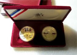 1983 1984 Two Us Olympic Commemorative Silver Dollars Proof Set Eagle
