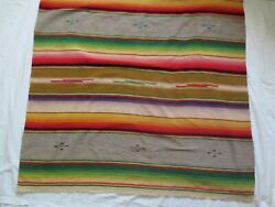 Hand Woven Southwest Navajo Style Wool Vintage Mexican Blanket - Estate Find