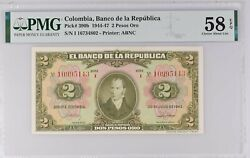 Colombia 2 Pesos 1943 P390a Pmg 58 Epq Choice About Unc Scarce 8 Digits