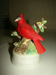 Milano Porcelain Sculpture By Eda Mann Red Cardinal On A Branch Music Box