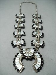 Intricate Womenand039s Vintage Zuni Turquoise Sterling Silver Squash Blossom Necklace