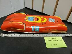 Vintage Western Germany Friction Drive Car Jaguar Mercedes 1950and039s Tin Toy Metal