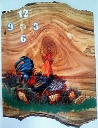 Chicken wood clock with Rooster Hen and Chicks Americana and rustic decor