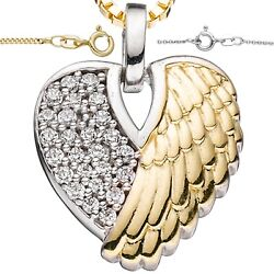 Heart Necklace❤️ Pendant Angel Wing Luck 925 Silver Gold Plated Ladies Gifts