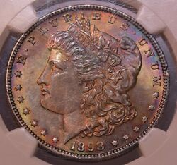 1898 1 Morgan Silver Dollar Ngc Ms64 Star Worthy Monster Toned Rainbow Colors