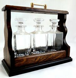3 Decanter Lift Out Mini Tantalus Brass Fittings + Mini Lead Crystal Decanters