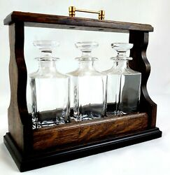 3 Decanter Lift Out Mini Tantalus, Brass Fittings + Mini Lead Crystal Decanters
