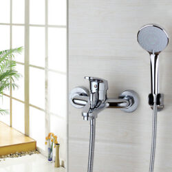 Chrome Shower Bathtub Faucet Rainfall Spout With Hand Spray Wall Mount Mixer Tap