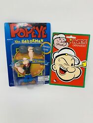 Popeye Vintage Bendable Figure And Handcrafted Wood Ornament Collectible