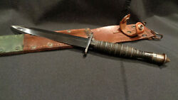 Wwii Fairbairn Sykes Stiletto Dagger Ribbed And Roped Ww2 F/s Fighting Knife