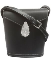 Calvin Klein Lock Leather Mini Bucket Bag Black Silver $55.99