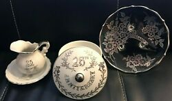 25th Wedding Anniversary Gifts Silver Plate Pitcher Bowl Lefton China Made Japan
