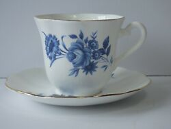 Taylor And Kent Elizabethan Tea Cup And Saucer Fine Bone China Blue Cabbage Rose