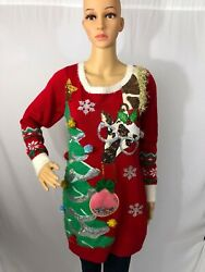 Ladies Christmas Sweater - Giraffe And Tree - Ugly Holiday Party - Multi Sizes